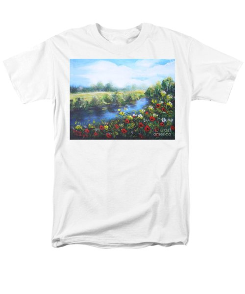 Men's T-Shirt  (Regular Fit) featuring the painting Along The Poppy Valley by Vesna Martinjak