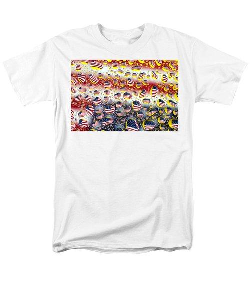 American Flag In Water Drops Men's T-Shirt  (Regular Fit) by Paul Ge