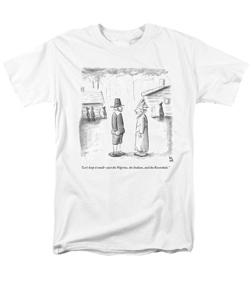 An Indian Chief Speaks To A Pilgrim Men's T-Shirt  (Regular Fit) by Paul Noth