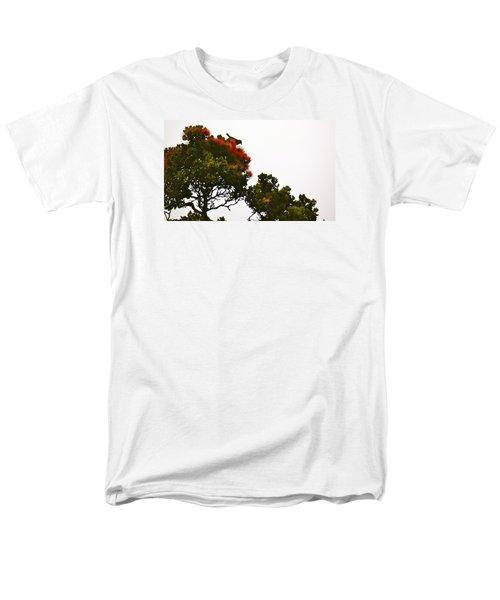 Apapane Atop An Orange Ohia Lehua Tree  Men's T-Shirt  (Regular Fit) by Lehua Pekelo-Stearns