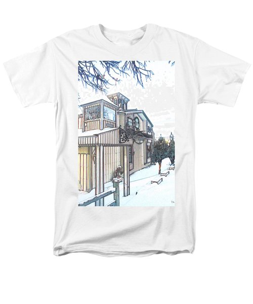 Men's T-Shirt  (Regular Fit) featuring the painting Arp Clockhouse Across From Mamasitas In Bennet Nebraska by PainterArtist FIN