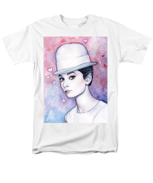 Audrey Hepburn Fashion Watercolor Men's T-Shirt  (Regular Fit) by Olga Shvartsur