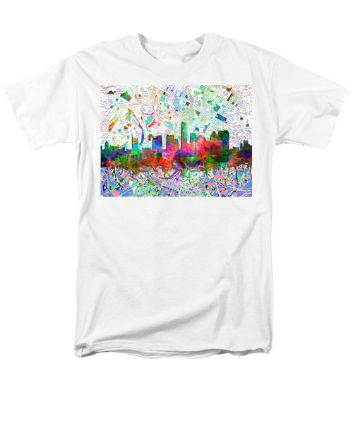 Austin Texas Abstract Panorama 7 Men's T-Shirt  (Regular Fit) by Bekim Art
