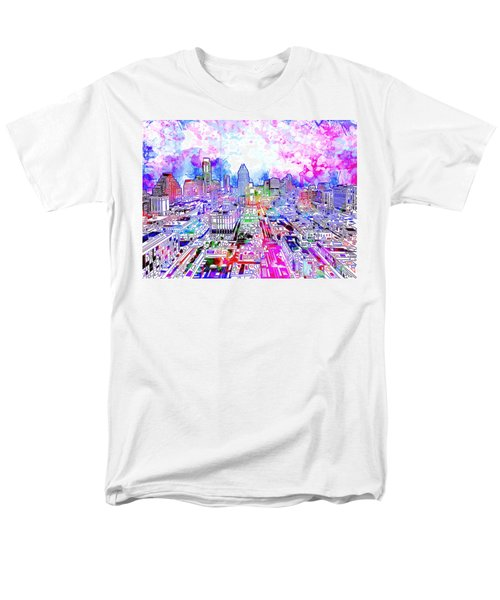 Austin Texas Watercolor Panorama Men's T-Shirt  (Regular Fit) by Bekim Art