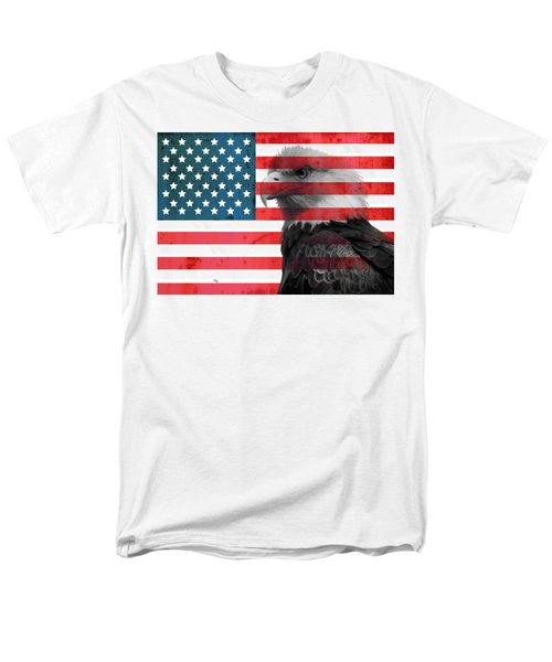 Bald Eagle American Flag Men's T-Shirt  (Regular Fit) by Dan Sproul
