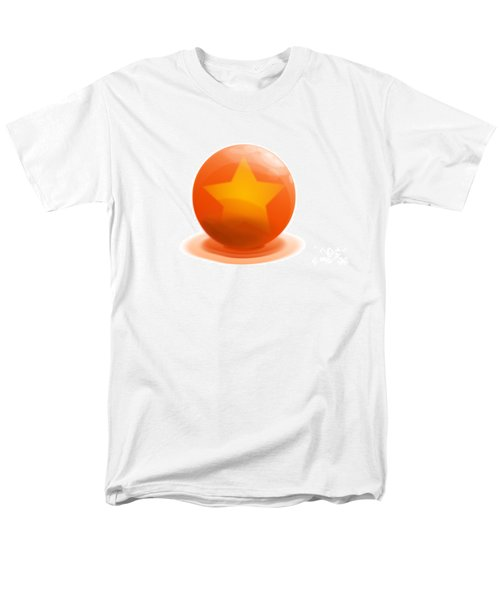Men's T-Shirt  (Regular Fit) featuring the sculpture orange Ball decorated with star white background by R Muirhead Art