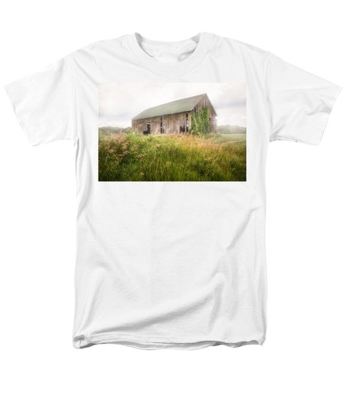Men's T-Shirt  (Regular Fit) featuring the photograph Barn In A Misty Field by Gary Heller