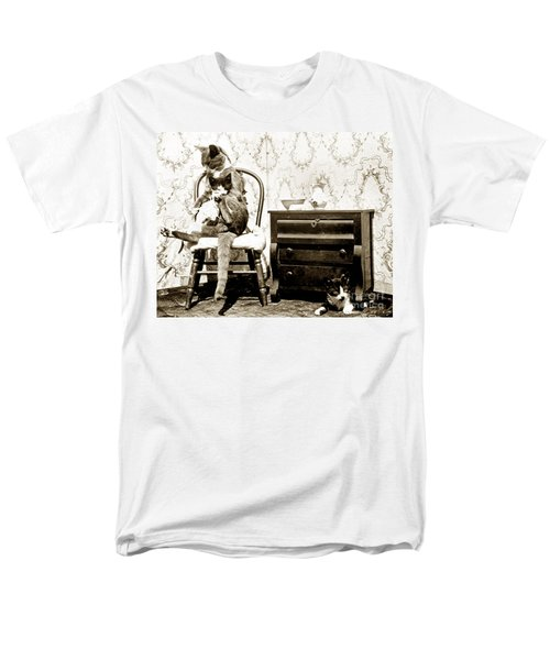 Men's T-Shirt  (Regular Fit) featuring the photograph Bath Time For Kitty Circa 1900 Historical Photos by California Views Mr Pat Hathaway Archives