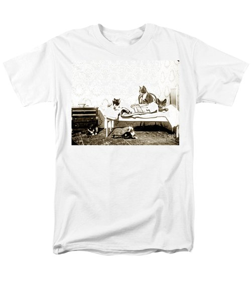 Men's T-Shirt  (Regular Fit) featuring the photograph Bed Time For Kitty Cats Histrica Photo Circa 1900 by California Views Mr Pat Hathaway Archives