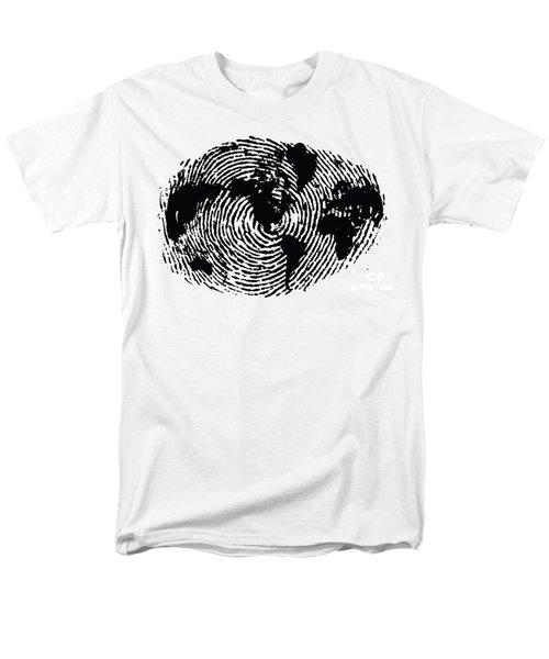 black and white ink print poster One of a Kind Global Fingerprint Men's T-Shirt  (Regular Fit) by Sassan Filsoof