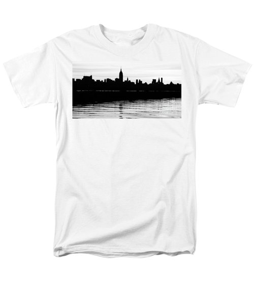 Men's T-Shirt  (Regular Fit) featuring the photograph Black And White Nyc Morning Reflections by Lilliana Mendez