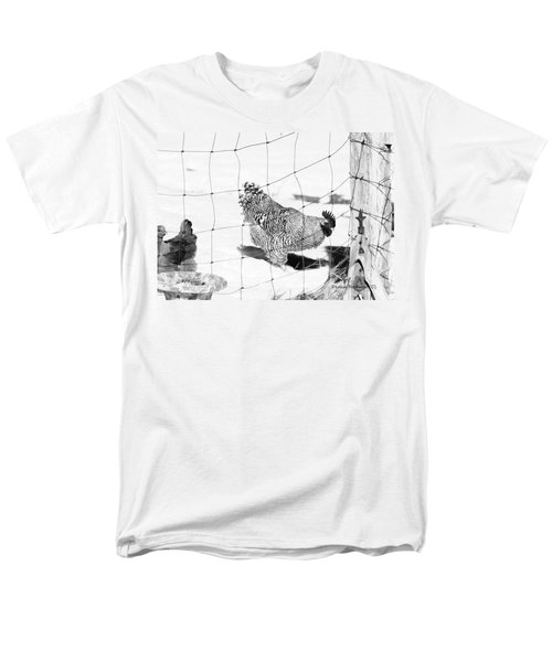 Black And White Rooster Men's T-Shirt  (Regular Fit)