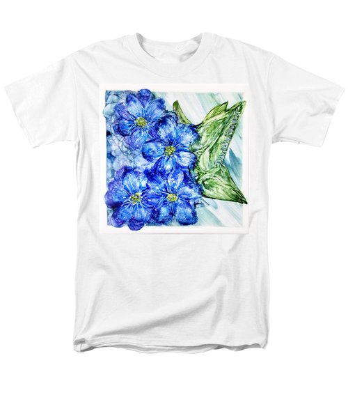 Blue Springy Flowers Alcohol Inks Men's T-Shirt  (Regular Fit)