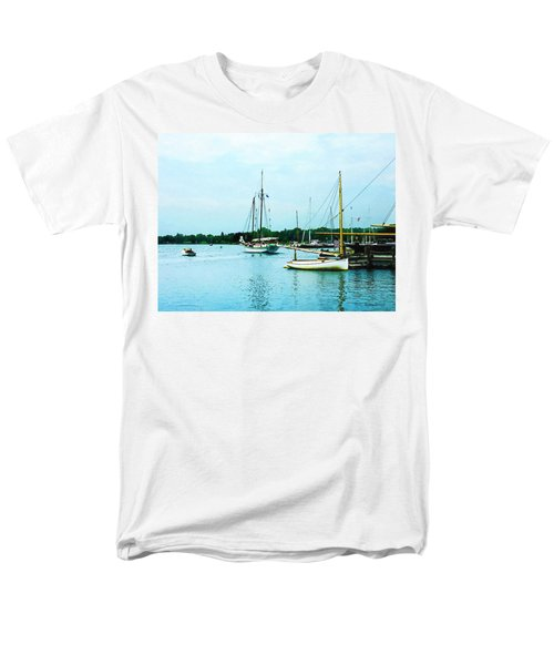 Men's T-Shirt  (Regular Fit) featuring the photograph Boats On A Calm Sea by Susan Savad