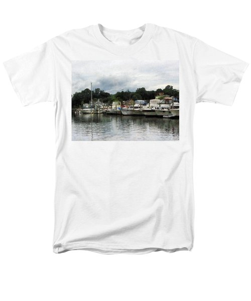 Men's T-Shirt  (Regular Fit) featuring the photograph Boats On A Cloudy Day Essex Ct by Susan Savad