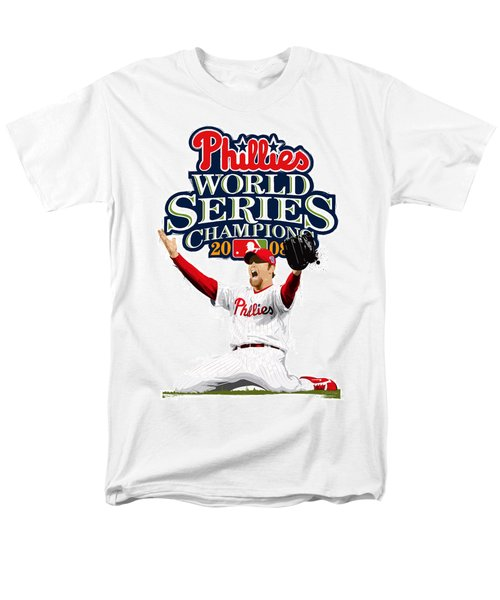 Men's T-Shirt  (Regular Fit) featuring the digital art Brad Lidge Ws Champs Logo by Scott Weigner
