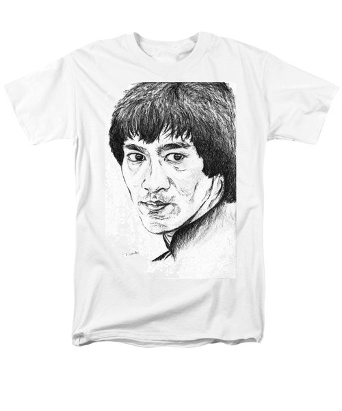 Men's T-Shirt  (Regular Fit) featuring the drawing Bruce Lee by Teresa White