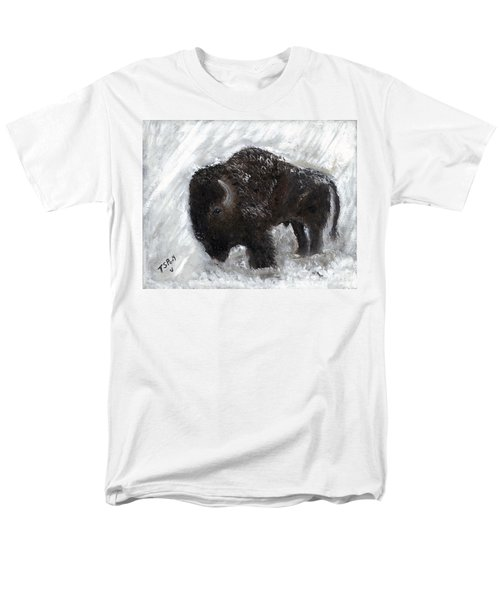 Men's T-Shirt  (Regular Fit) featuring the painting Buffalo In The Snow by Barbie Batson