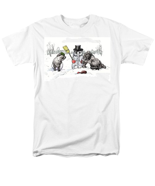 Building A Snow Elephant Men's T-Shirt  (Regular Fit) by Donna Tucker