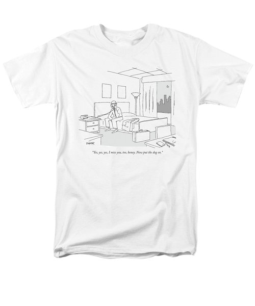 Businessman Sitting On A Bed In Hotel Room Men's T-Shirt  (Regular Fit) by Jack Ziegler