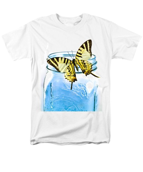 Butterfly On A Blue Jar Men's T-Shirt  (Regular Fit) by Bob Orsillo