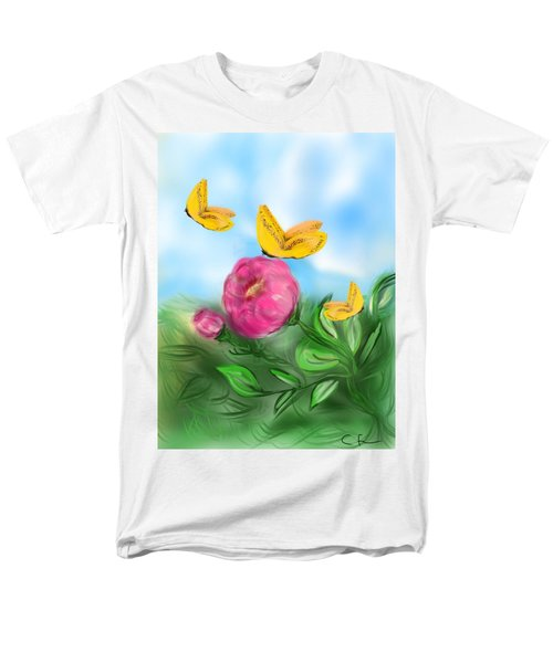 Men's T-Shirt  (Regular Fit) featuring the digital art Butterfly Triplets by Christine Fournier