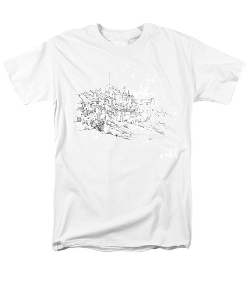 Men's T-Shirt  (Regular Fit) featuring the drawing Castletown Coastal Houses by Paul Davenport