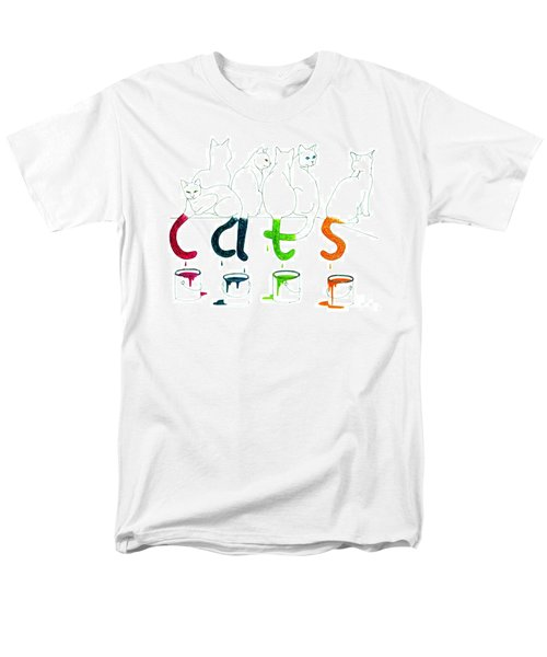 Cats With Paint Cans Men's T-Shirt  (Regular Fit) by Patricia Overmoyer