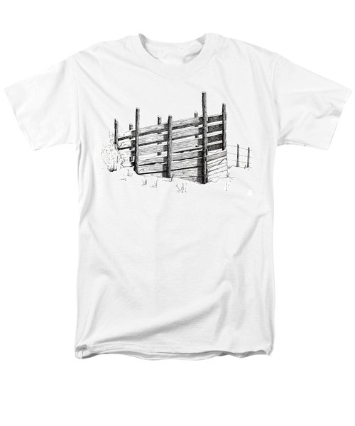 Men's T-Shirt  (Regular Fit) featuring the painting Cattle Chute Ink by Richard Faulkner