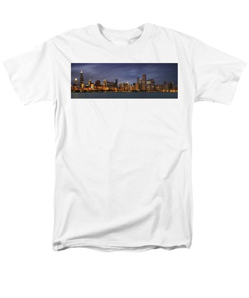 Chicago Skyline At Night Color Panoramic Men's T-Shirt  (Regular Fit) by Adam Romanowicz