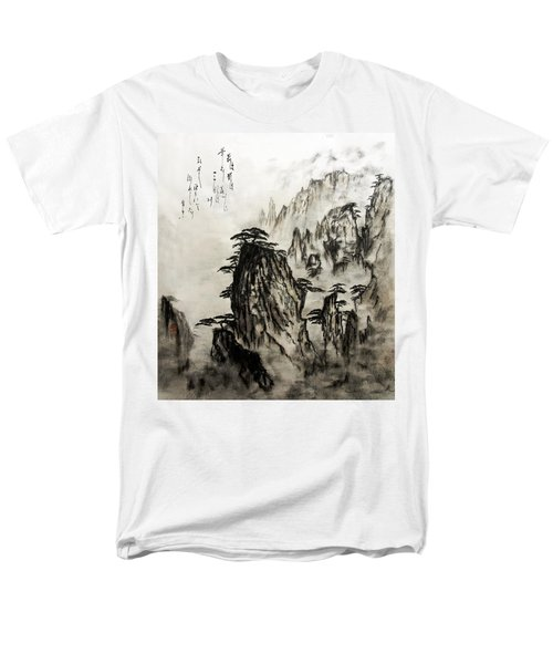 Men's T-Shirt  (Regular Fit) featuring the painting Chinese Mountains With Poem In Ink Brush Calligraphy Of Love Poem by Peter v Quenter