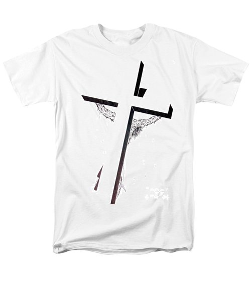 Christ On Cross Men's T-Shirt  (Regular Fit) by Justin Moore