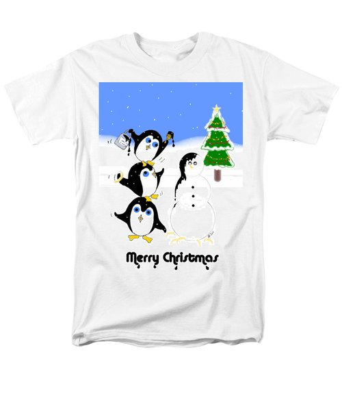 Men's T-Shirt  (Regular Fit) featuring the digital art Christmas Penguins by Stephanie Grant