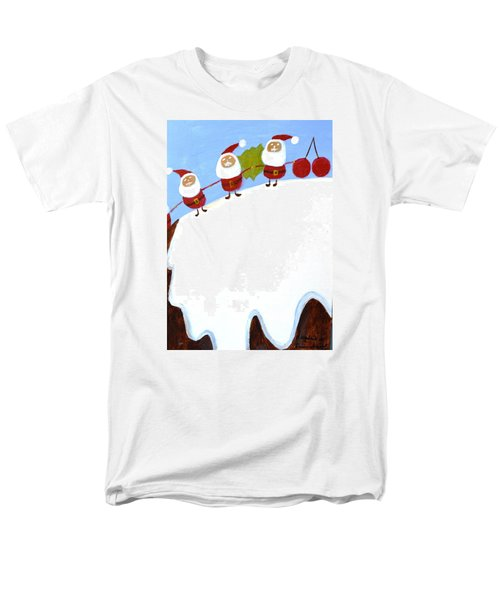 Christmas Pudding And Santas Men's T-Shirt  (Regular Fit) by Magdalena Frohnsdorff