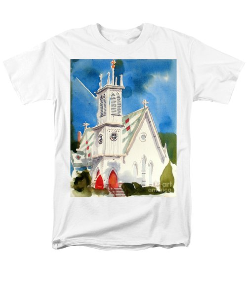 Church With Jet Contrail Men's T-Shirt  (Regular Fit)