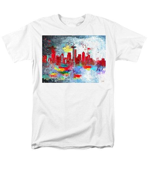 City Of Seattle Grunge Men's T-Shirt  (Regular Fit) by Daniel Janda