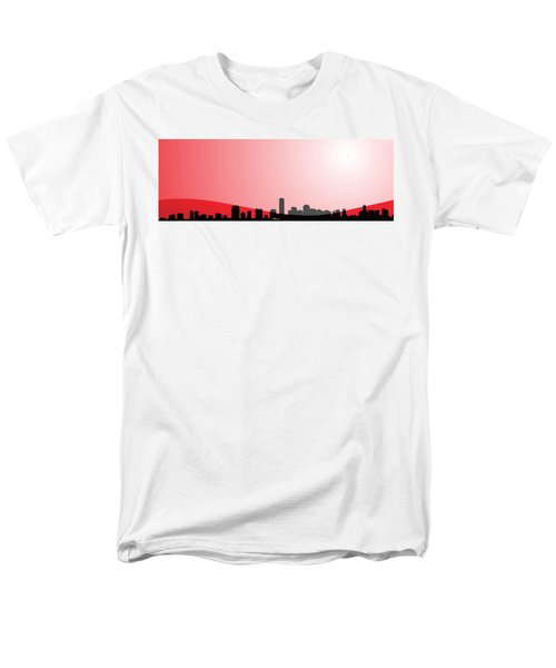 Cityscapes - Miami Skyline In Black On Red Men's T-Shirt  (Regular Fit) by Serge Averbukh