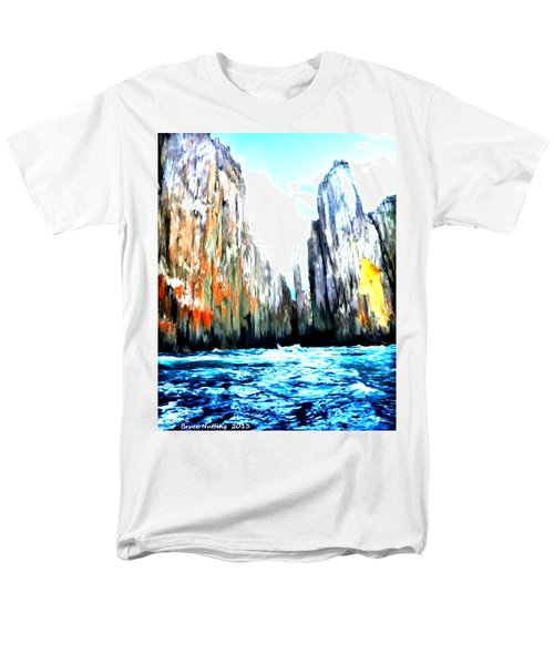 Men's T-Shirt  (Regular Fit) featuring the painting Cliffs By The Sea by Bruce Nutting