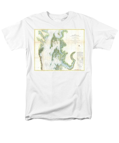 Coast Survey Chart Or Map Of The Chesapeake Bay Men's T-Shirt  (Regular Fit) by Paul Fearn