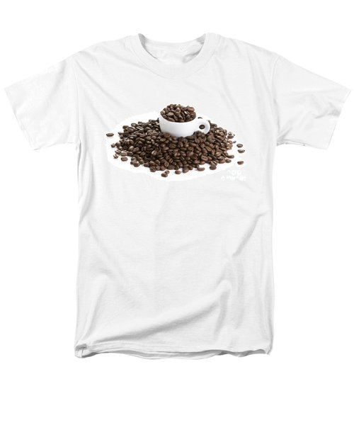 Men's T-Shirt  (Regular Fit) featuring the photograph Coffee Beans And Coffee Cup Isolated On White by Lee Avison