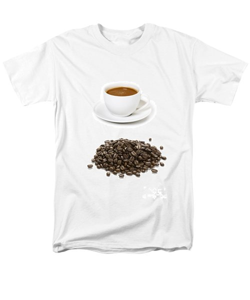 Men's T-Shirt  (Regular Fit) featuring the photograph Coffee Cups And Coffee Beans by Lee Avison