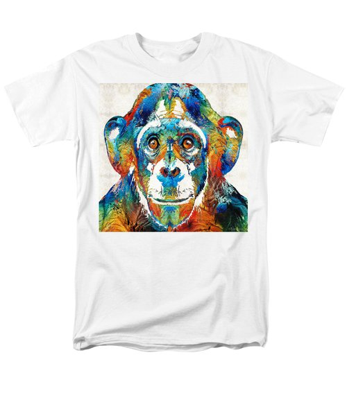 Colorful Chimp Art - Monkey Business - By Sharon Cummings Men's T-Shirt  (Regular Fit) by Sharon Cummings