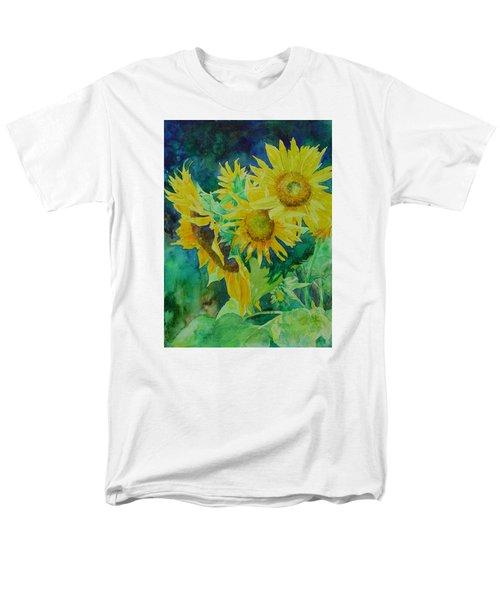 Colorful Original Sunflowers Flower Garden Art Artist K. Joann Russell Men's T-Shirt  (Regular Fit) by Elizabeth Sawyer