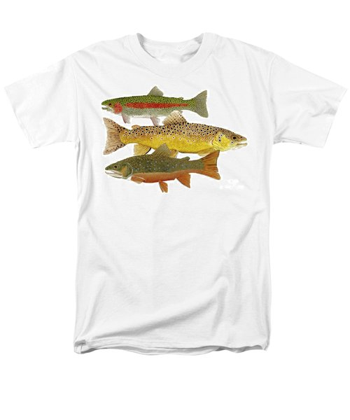 Men's T-Shirt  (Regular Fit) featuring the painting Common Trout  Rainbow Brown And Brook by Thom Glace