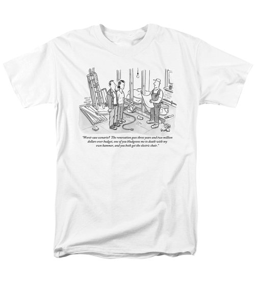Contractor Examining A Blueprint And Speaking Men's T-Shirt  (Regular Fit) by Robert Leighton
