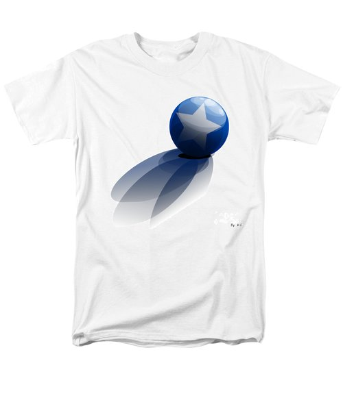 Men's T-Shirt  (Regular Fit) featuring the digital art Blue Ball Decorated With Star Grass White Background by R Muirhead Art