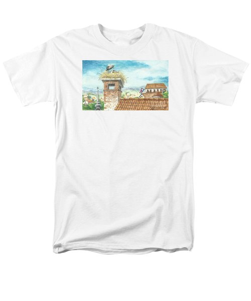Men's T-Shirt  (Regular Fit) featuring the painting Cranes In Croatia by Christina Verdgeline