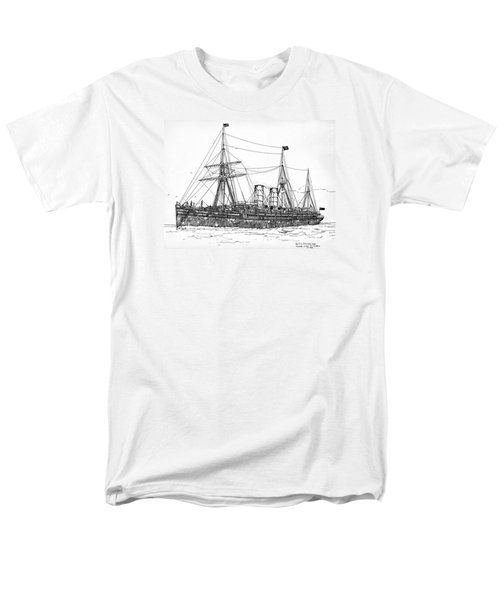 Men's T-Shirt  (Regular Fit) featuring the drawing Cunard Liner Umbria 1880's by Ira Shander
