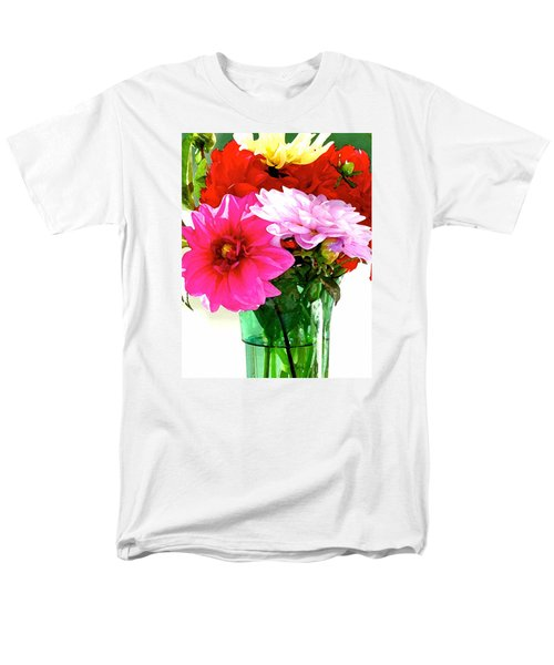 Men's T-Shirt  (Regular Fit) featuring the photograph Dahlias In The Sun by Lehua Pekelo-Stearns