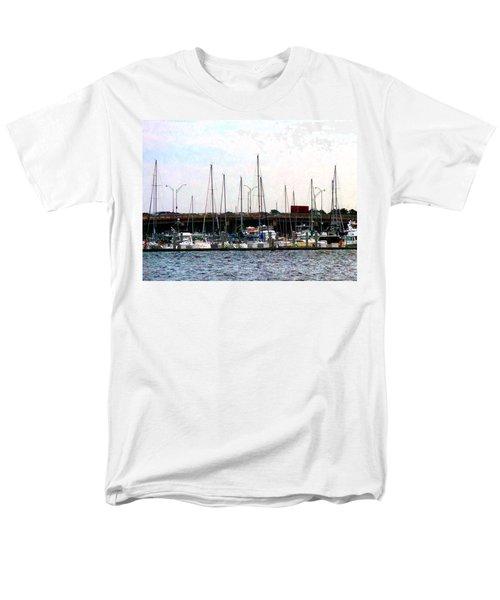 Men's T-Shirt  (Regular Fit) featuring the photograph Docked Boats Norfolk Va by Susan Savad